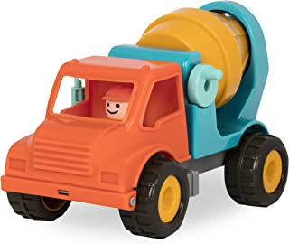 Battat Cement Mixer Truck with Working Movable Parts and Driver - Toy Trucks for Toddlers 18m+, Orange/Blue