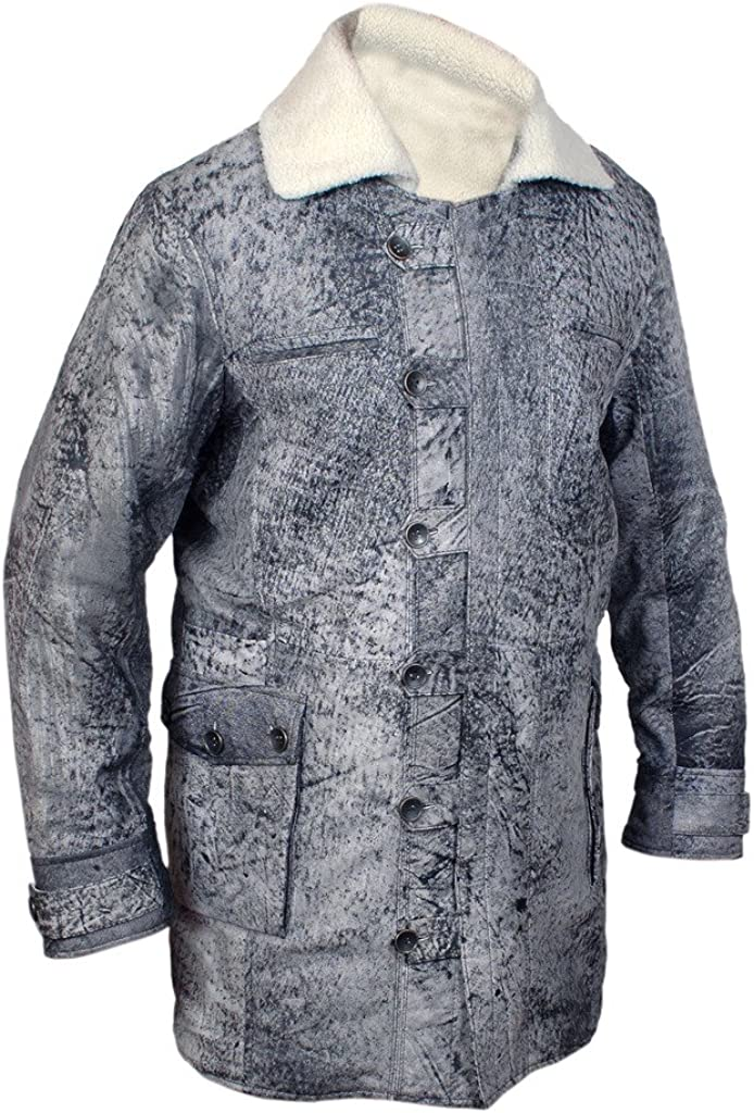 F&H Men's Bane Genuine Distressed Leather Shearling Coat