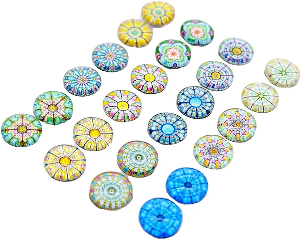 Princess-J Glass Dome Kaleidoscope Seamless Pattern Magnetic Clip-on Earrings, Mix of 12 Styles