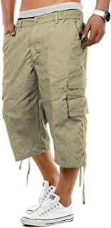 Men's Casual Capri Pants,3/4 Relaxed Fit Below Knee Cargo Short Cropped Trousers