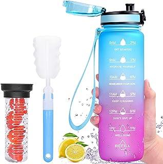 Favofit Drinkfles met vruchtenhouder, 1 l motiverende waterfles met tijdstempel, lekvrije BPA-vrije sportfles voor sport f...