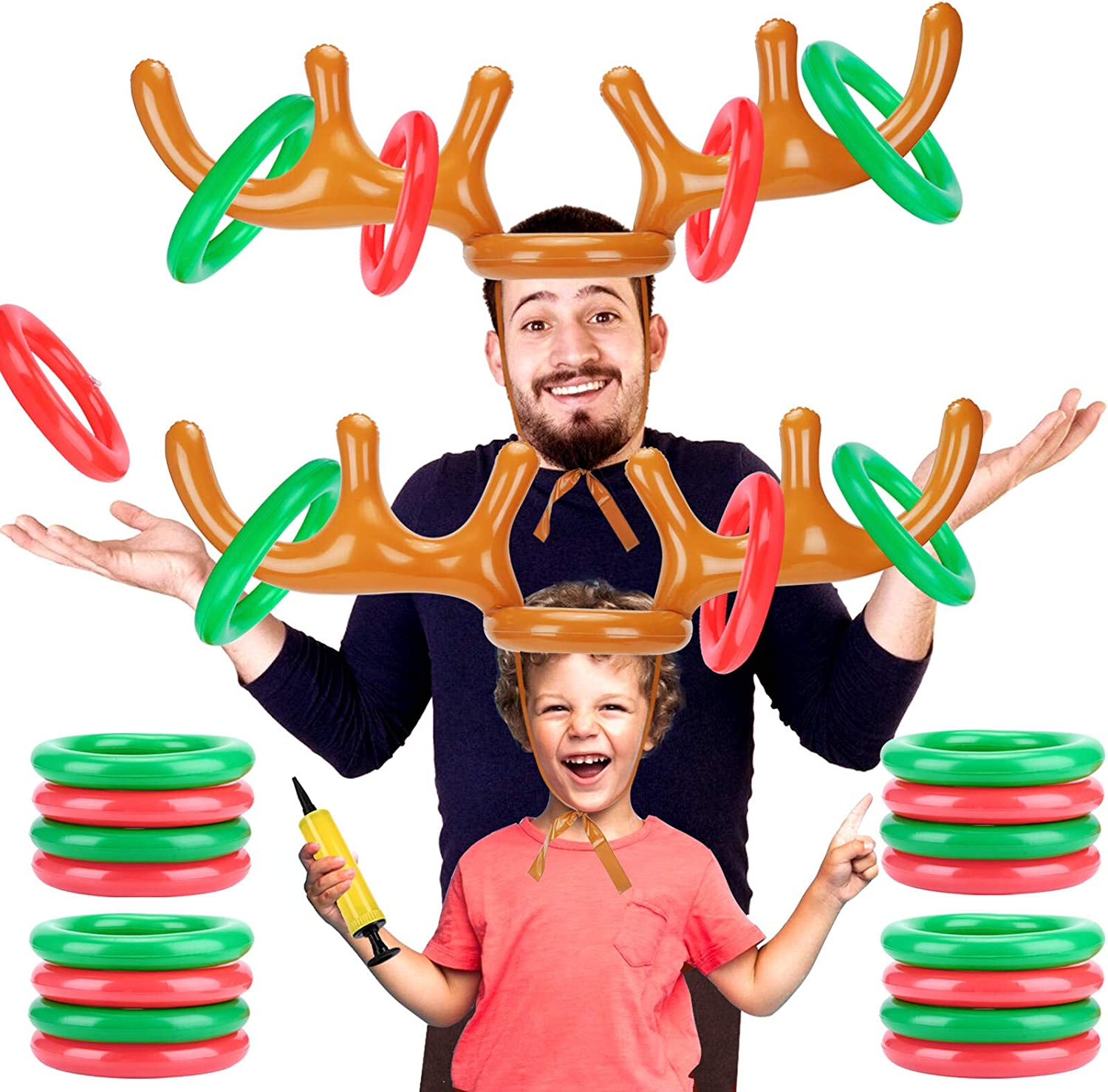 Angooni Inflatable Reindeer Antler free Ring Christmas for Toss Game SALENEW very popular!
