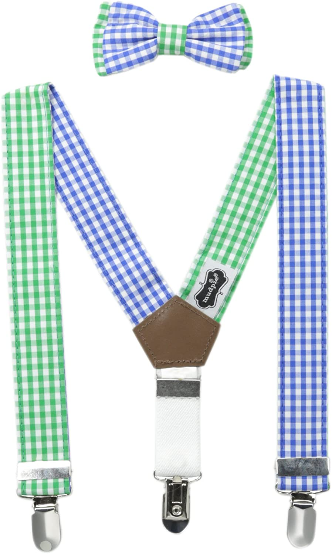 Mud Pie Baby-Boys Newborn Gingham Suspender and Tie Set