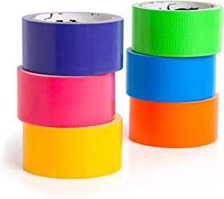 Craftzilla Colored Duct Tape - 6 Color Variety Pack - 10 Yards x 2 Inch Rolls. Rainbow Color Craft Set