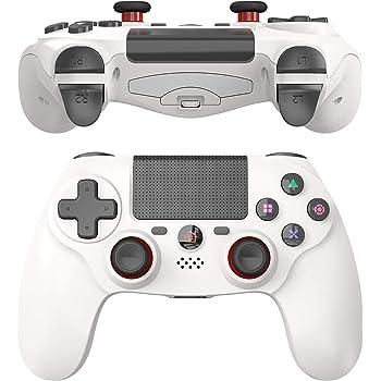 JOYSKY Controller per PS4,Senza Fili Controller per PlayStation 4,Bluetooth Gamepad con Doppia Vibrazione Ricaricabile Telecomando a 6 Assi Dual Vibration Shock e Presa Audio (Bianco Puro)