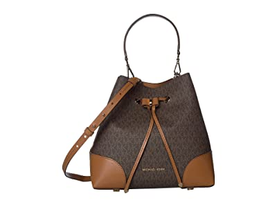 MICHAEL Michael Kors Mercer Gallery Medium Convertible Bucket Shoulder (Brown/Acorn) Shoulder Handbags
