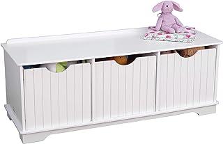 KidKraft 14564 Nantucket Banc de rangement blanc pour enfant Avec 3 tiroirs/bacs/paniers de rangement Meuble pour chambre ...