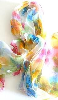 Silk Salon Oblong 100% Silk Scarf Belt Hand Rolled Edges Floral Pastel A502