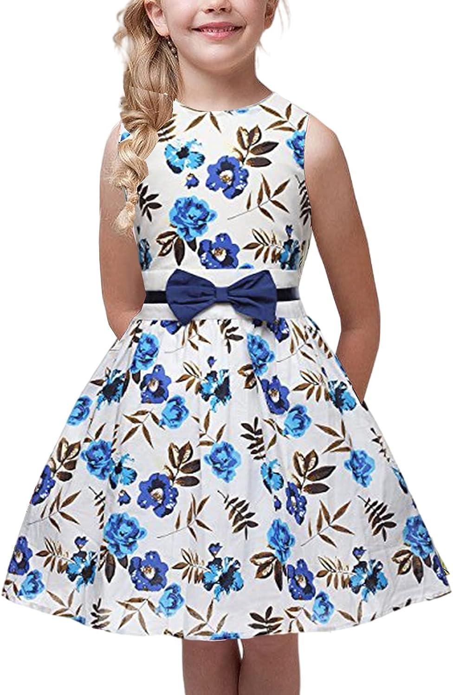 FEDPOP Girls Classy Vintage Floral Sleeveless Swing Kids Party Dresses 2-9 Years.