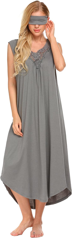 Legros Womens Cotton Curved Hem Nightdress Summer VNeck Nightgown with Eyewear Mask