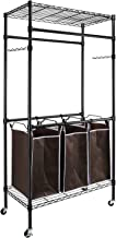 alvorog Garment Rack Rolling Laundry Sorter Cart Heavy-Duty Sorting Hamper Commercial Grade Clothes Rack with 2 Hanging Rod Adjustable Height Shelves 3 Removable Bags for Laundry Room, Black