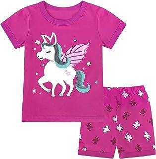 iiniim Toddler Girls 100% Cotton Summer Suit Sleepwear Short Sleeve Horse Print T-Shirt Top with Shorts Set Loungewear
