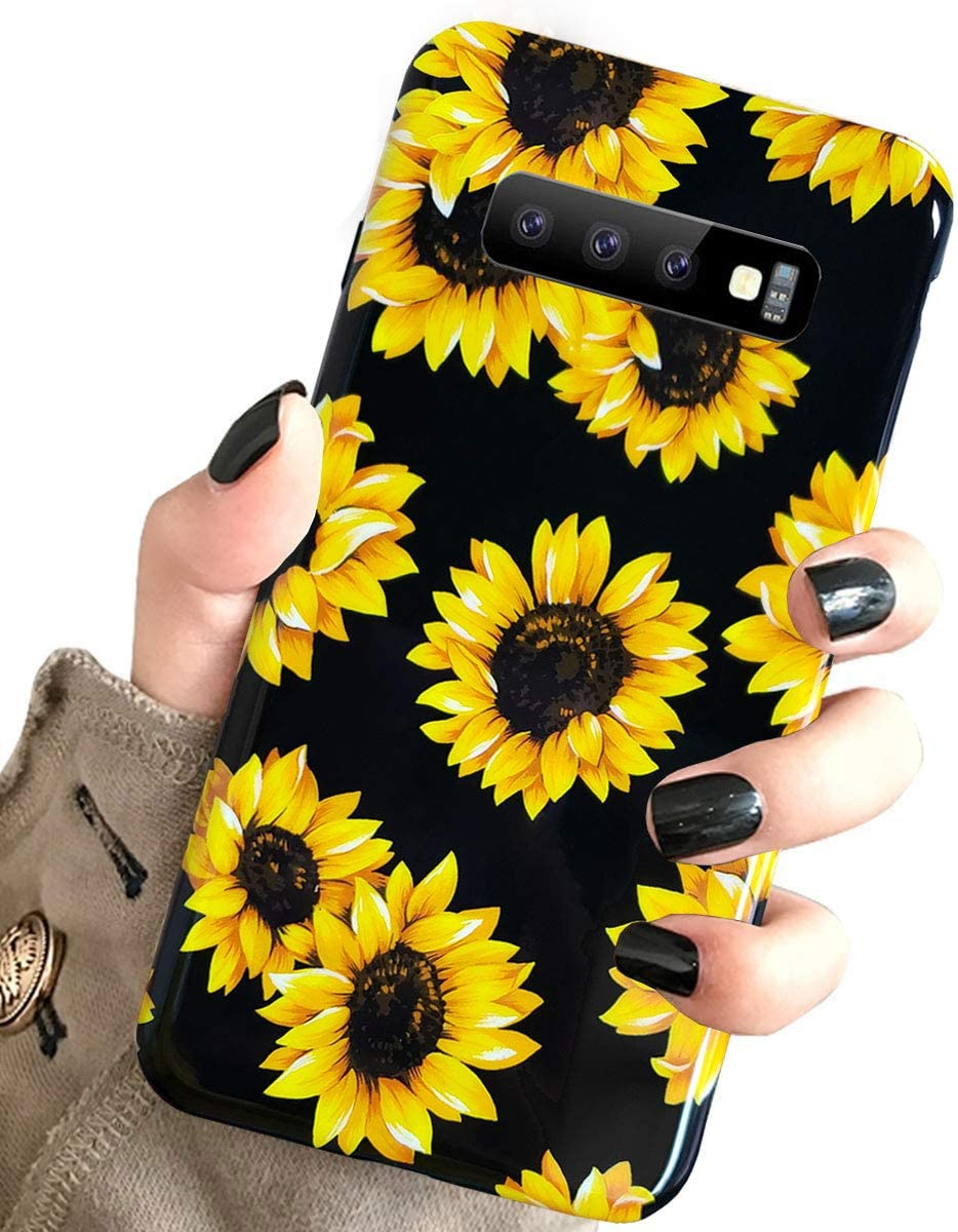 Galaxy S10 Case Vintage Flower Floral,J.west Sunflowers Black Soft Silicone Cover for Girls Women Slim fit Fashion Design Pattern Sturdy Protective Phone Case for Samsung Galaxy S10 6.1 inch