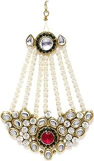 Zaveri Pearls Jhumar Passa Kundan White Pearl Jhoomar Maang Tika for Women (Multi-Colour) (ZPFK4984)