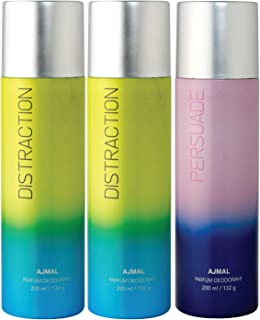 Ajmal 2 Distraction & Persuade Deodorant Combo Pack of 3 Deodorants 200ml each (Total 600ML) for Men & Women + 4 Parfum Te...