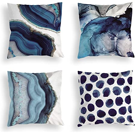 OATHENE Set of 4 Decorative Throw Pillow Covers,Navy Blue Marble Dots Sea Texture Linen Cushion Sofa Bedroom Car,Home Decor,18 x 18 Inch.1367