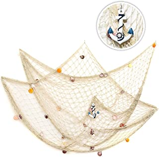 king do way 79inch x 59inch Mediterranean Style Fishing Nets with Sea Shells and Anchor Decorative Background Wall Bar for Home Decoration(White)