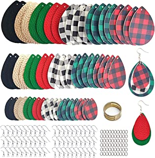 AOUXSEEM 181 Pcs Faux Leather Earrings Making Kit for Beginner, Contains 60 Pre-Cut Buffalo Plaid Printed Metallic Litchi ...