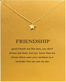Friendship Anchor Compass Necklace Good Luck Elephant Pendant Chain Necklace with Message..