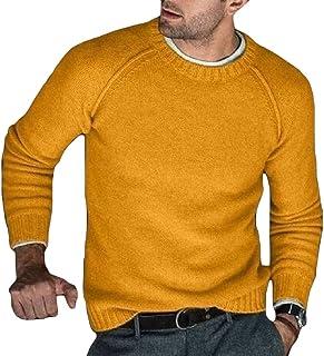 Jofemuho Men Knit Loose Turtle Neck Solid Fall Winter Pullover Sweater Jumper