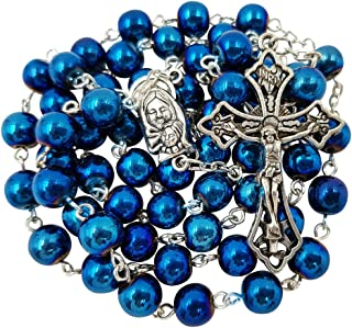 8mm Blue Hematite Beads CATHOLIC ROSARY NECKLACE Virgin Mary Medal Cross Crucifix in Gift Box