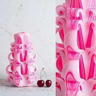 Candela Ornamentale Intagliata Bianca E Rosa - Colori Delicati - Chime Ritual Spell Votive - EveCandles