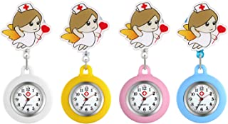 Women's Nurse Watch Clip-on Stethoscope Badge Doctors Medical Lapel Pocket Clasp Fob Watches Cute Style for Girls