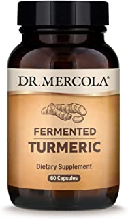 Dr. Mercola, Fermented Turmeric with 95% Curcuminoids Turmeric Extract, 30 Servings (60 Capsules), Non GMO, Soy-Free, Glut...