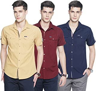 OJASS Men's Solid Casual Beige, Maroon, Blue Shirt (Pack of 3)