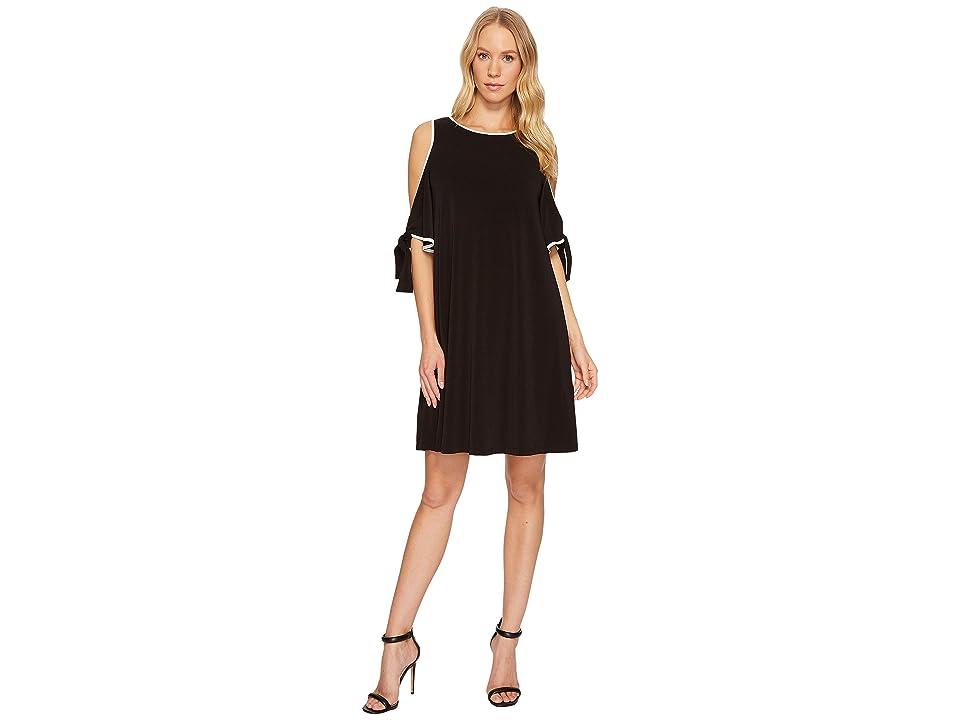 Taylor Cold-Shoulder Shift Dress w/ Chiffon Sleeves (Black/Ivory) Women