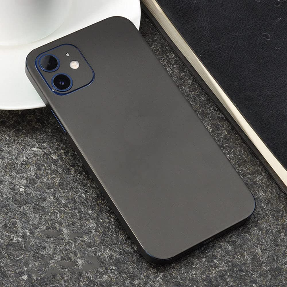 Precision Skin Wrap for iPhone 12,Tectom Ultra Thin Full Coverage Phone Back Stickers Decals for iPhone 12 pro (Black, iPhone 12)
