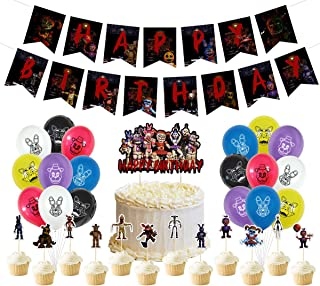 Five Nights at Freddy's Birthday Party Supplies include Cake Topper,Cupcake Toppers, Banner, balloons