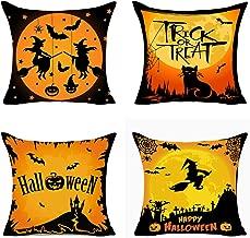 MFGNEH Halloween Decorations Witch Black Cat Pumpkin Cotton Linen Pillow Covers 18x18 Set of 4,Halloween Decor Trick or Treat Throw Pillow Covers Cases