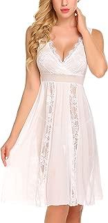 Avidlove Women's Long Chemise Nightgown Sexy Lace Babydoll Lingerie Bridal Eyelash Negligee