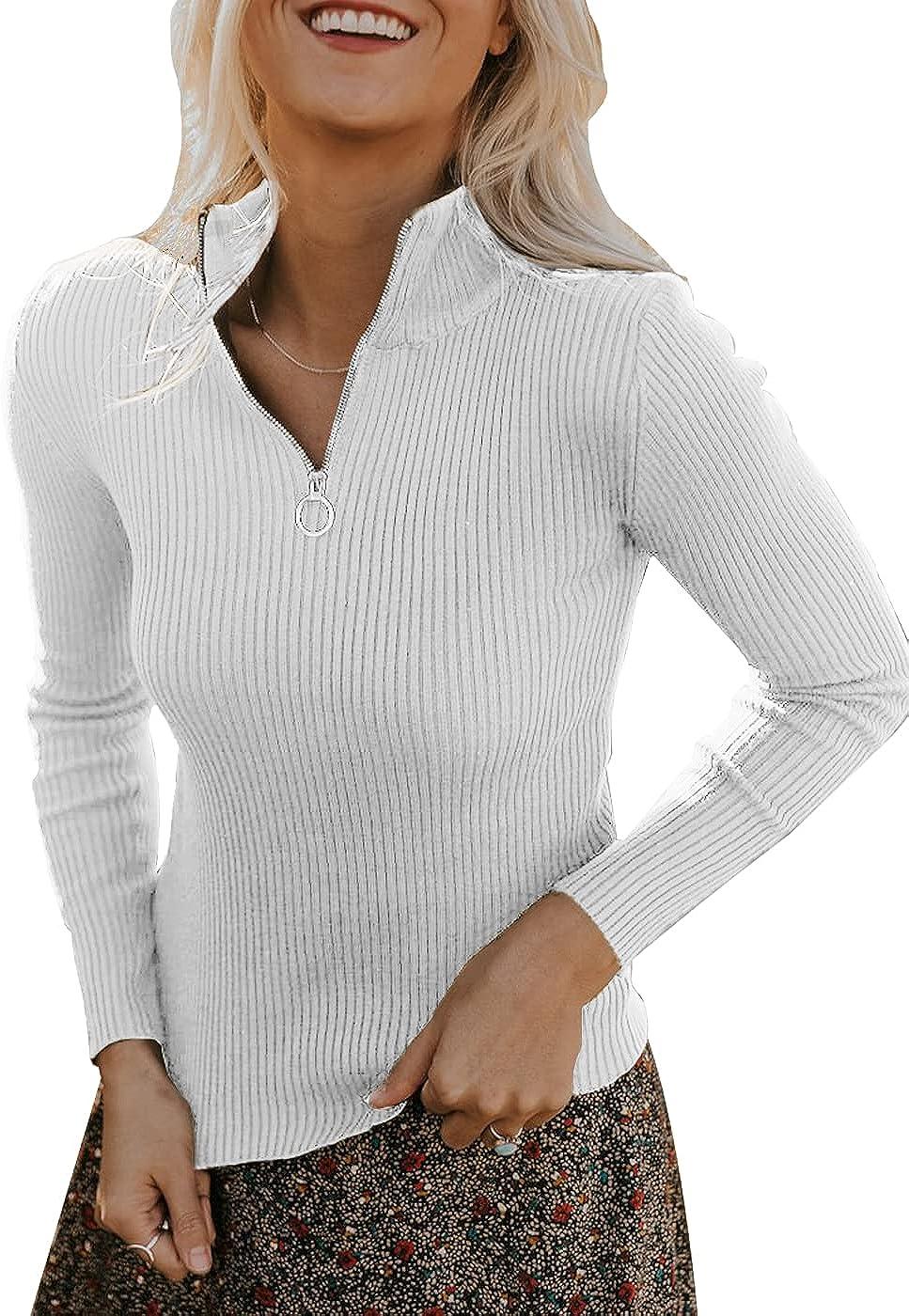 PRETTYGARDEN Women's Casual Long Sleeve Mock Neck Half Zip Slim Fit Knit Sweater Ribbed Knit Pullover Tops