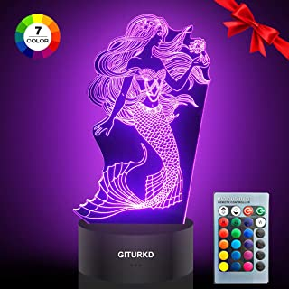 GITURKD Mermaid Night Light - 3D Led Illusion Lamp Optical Illusion 7 Colors Touch Table Desk Visual Lamp with Remote Control Lamp for Kids, Gift Set