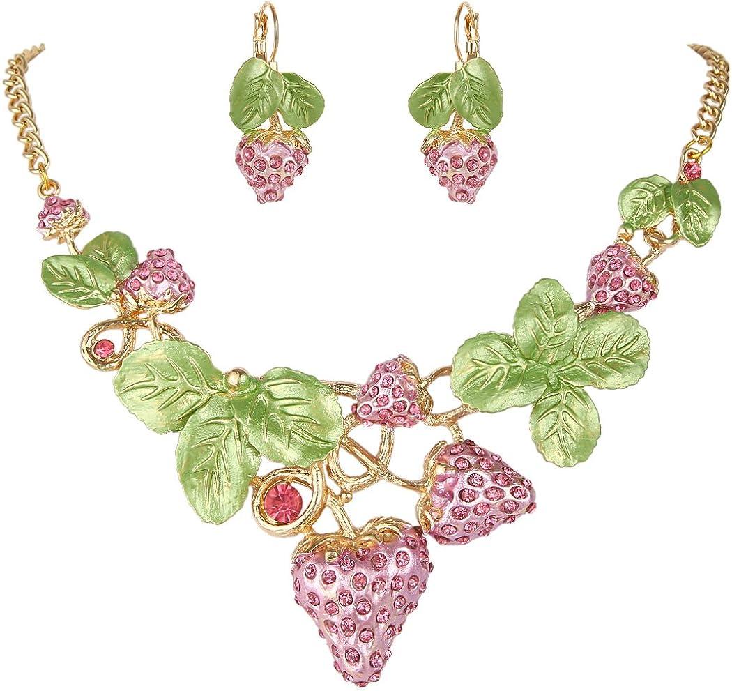 EVER FAITH Women's Austrian Crystal Sweet Strawberry Leaf Necklace Earrings Set