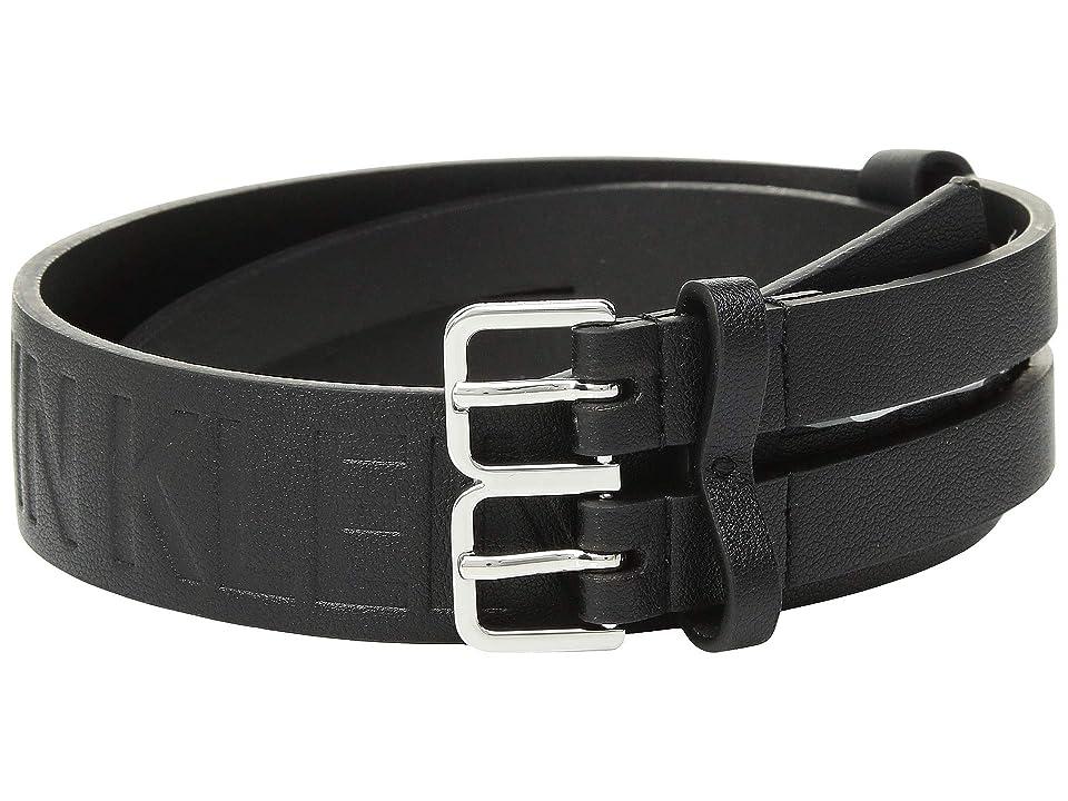 Calvin Klein 40 mm Flat Split Strap Belt (Black/Polished Nickel) Women