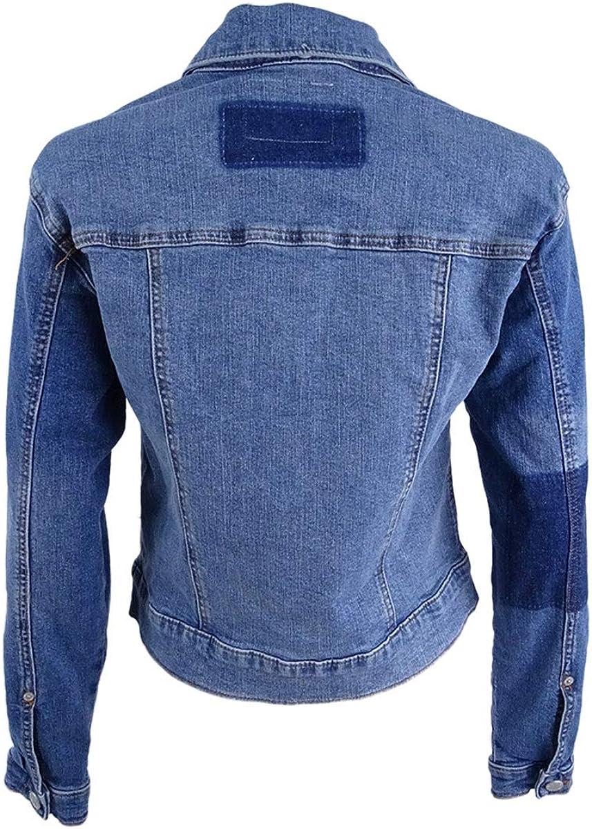 BUFFALO DAVID BITTON Women's Faux-fur-trim Patchwork Nicci Denim Jacket Top