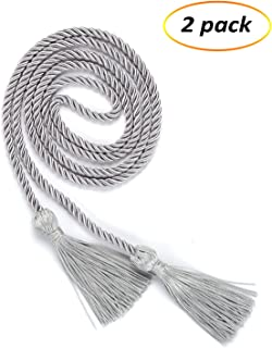 eborder 2 Piece Honor Cord Graduation Tassel for Leadership Students Graduating from School College,68 inch (Sliver)