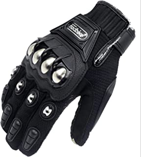 Eynpire Alloy Steel Knuckle Motorcycle Motorbike Powersports Racing Tactical Paintball Gloves Black (Large)