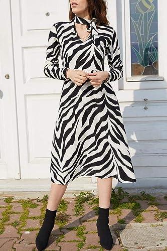 XGDLYQ Robe à Motifs de Gousset Noir et Blanc pour Femmes, 9KXK6-40634-01