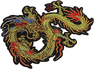 Bonarty 1Pcs Dragon Patch Embroidered Applique Patch Chinese Dragon Sew on Iron on Patches for DIY Chinese Dragon Costume, Jeans, Jackets, Clothing, Bags