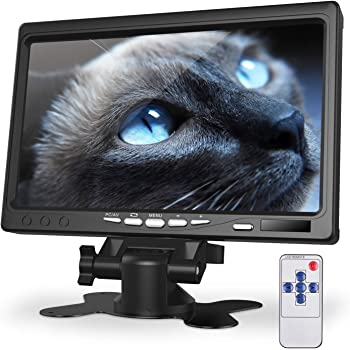 kuman 7 Inch Monitor HD Display 1024x600 IPS Screen for Raspberry Pi 4 B 3 2B B 1 B+ A+ with HDMI VGA Input, Built in Speaker for DVD VCR Car Remote SC7J, Black (SC7J-US)