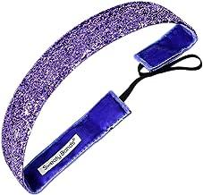 Sweaty Bands Womens Girls Headband - Non-Slip Velvet-Lined Sparkle Hairband - Viva Diva Purple 1-Inch