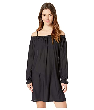 Luli Fama Cosita Buena Cuff Bell Sleeve Shift Dress Cover-Up (Black) Women