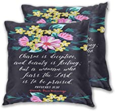 AW-KOCP Pack of 2 Christian Bible Verses Decorative Throw Pillow Covers for Sofa Home Decor, Many Pattern & Size Options