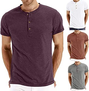9f05c583f6e6a Quinny Men s T Shirt for Men Boy Casual V-Neck Short Sleeve Button Elastic T