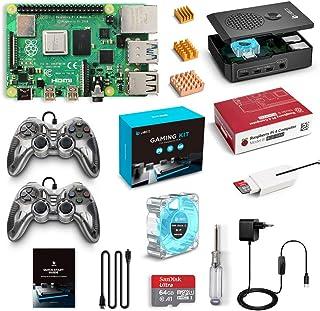 LABISTS Raspberry Pi 4 Model B 4GB RAM Retro Gaming Kit, RPi Barebone, MicroSD 64GB, 2 Controller Gamepad, Alimentatore 5.1V 3A, Micro HDMI, Ventola, Dissipatori di Calore, Lettore di Scheda e Case
