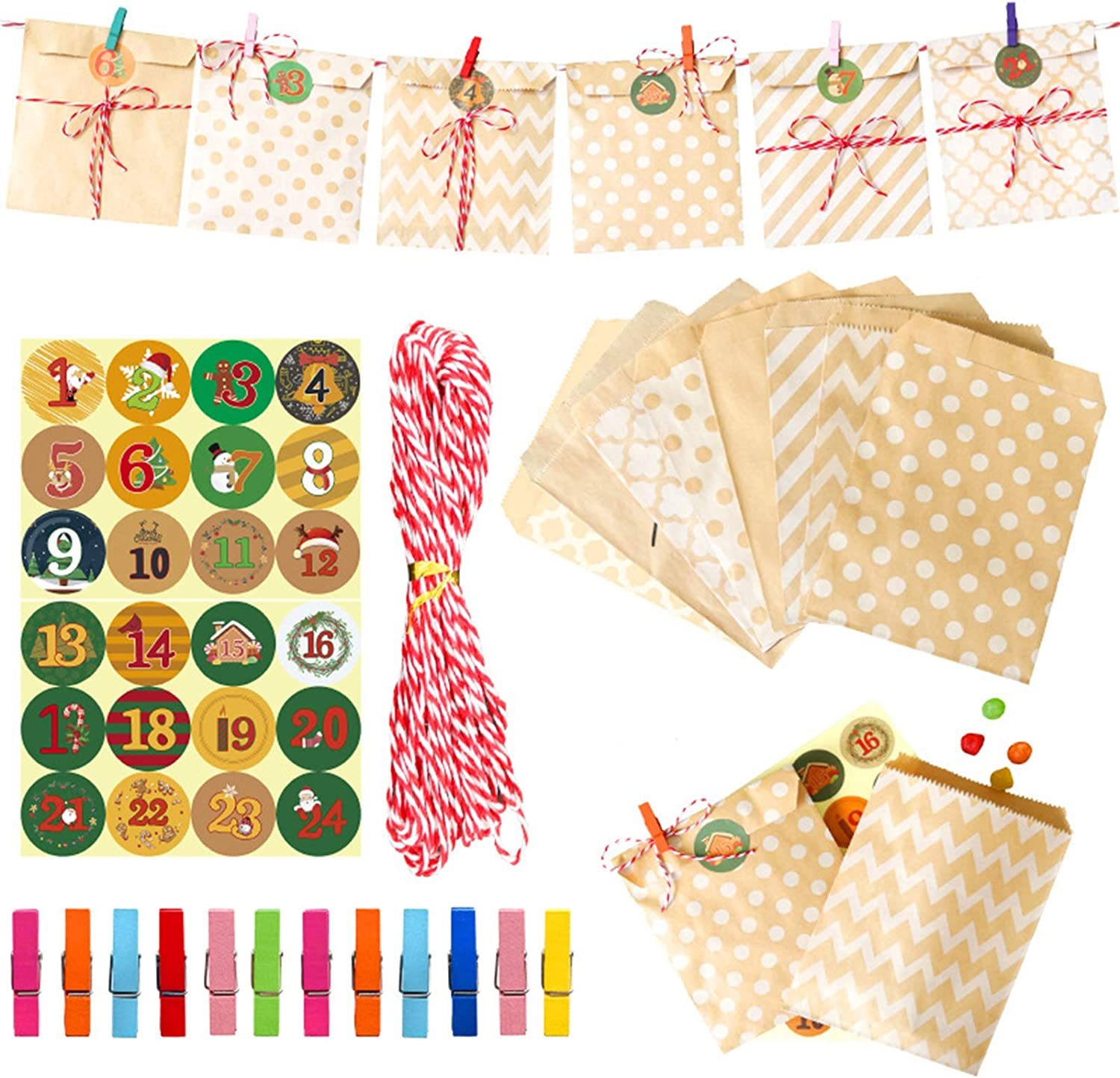 YOUSIKE Tag Clip 24 Sets Kraft A surprise price is realized Gift Packag Food Bag Candy Paper Max 63% OFF